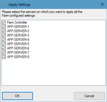 Farm Manager Settings: Choosing Servers